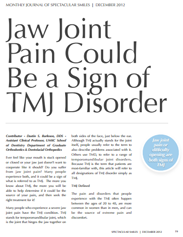 Jaw Joint Pain and TMJ Article by Dr. Burleson